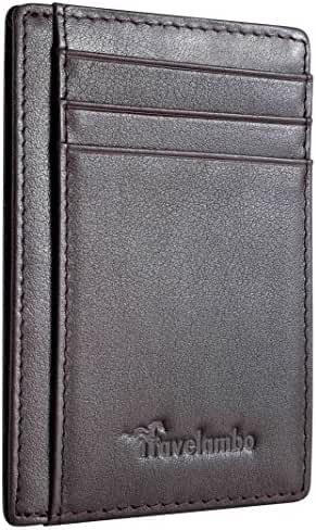 Travelambo Front Pocket Wallet Minimalist Wallets Leather Slim Wallet Money Clip RFID Blocking (black)