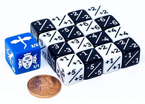 (16x Dice Counters, 8X White +1/+1 and 8X Black -1/-1 for Magic The Gathering 12mm)