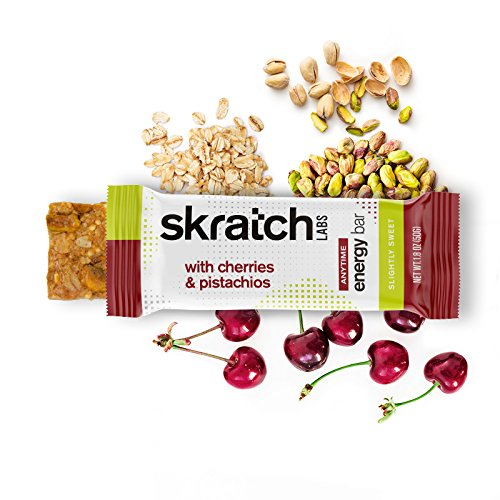 SKRATCH LABS, Anytime Energy Bars, Cherries and Pistachios, 12 pack box (non GMO, vegan, kosher, dairy free, gluten free, low sugar, delicious)