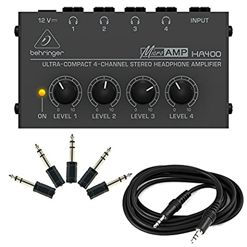 Behringer HA400 + 5 Adapters & Audio Cable - Microamp 4-Channel Stereo Headphone Amplifier (Behringer In Ear Monitor System)