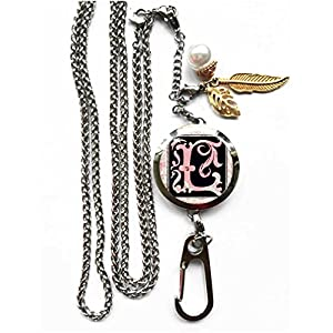 RhyNSky Letter - L Aromatherapy Essential Oil Diffuser Locket Pendant ID Badge Holder Lanyard Necklace Bracelet Keychain with Chain and Pads, C1224