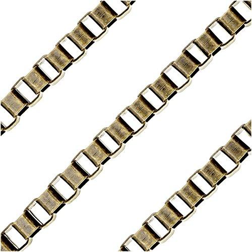 Beadaholique Antiqued Brass Bulk Chain, 4x3mm Venetian Box Links, Sold by The (Venetian Box Link)