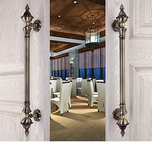Europen Retro wooden door handles Bronze big gate door pulls antique copper Ktv Hotel Home Office wooden door handles fittings - (Color: B 437MM)