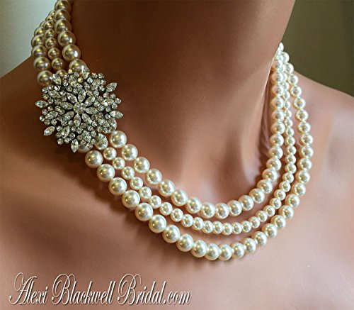Pearl Necklace with Brooch and Earrings Set Wedding Jewelry in 3 multi strands Swarovski pearls White or Cream Ivory by Alexi Blackwell Bridal -