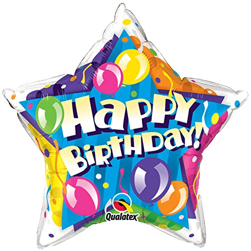 Qualatex Foil 091301 Birthday Sparkling Balloons Star, 20