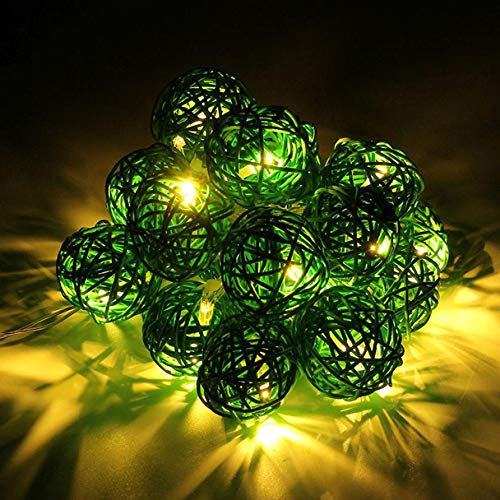 Glumes LED Rattan Ball String Fairy Lights|20 Lamp|9.8 ft/ 3 m |Hanging Indoor Outdoor Decoration for Christmas Party Wedding Holiday Birthday Garden Patio Bedroom (Green) -
