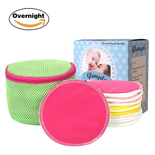 Glangels Thick Overnight Organic Bamboo Nursing Pads Washable Reusable Super Soft Hypoallergenic Antibacterial Breastfeeding Pads, Soothes Sensitive Nipple +Free Laundry Bag