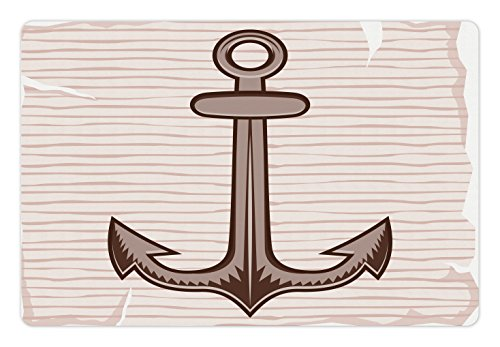 Lunarable Anchor Pet Mat for Food and Water, Anchor in Soft Color Captain Port Rope Diving Being Grounded Hold on Illustration, Rectangle Non-Slip Rubber Mat for Dogs and Cats, Cream - Captains Bed Cream