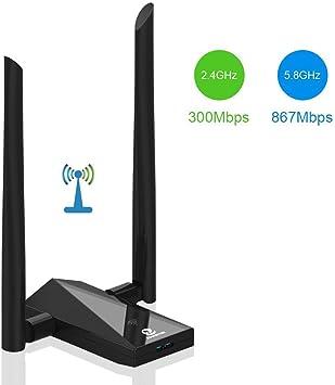 ZOWEETEK Receptor Wifi de 1200 Mbps de doble banda, adaptador de wifi de largo alcance con antena de 5 dbi de alta ganancia para PC, escritorio, ...