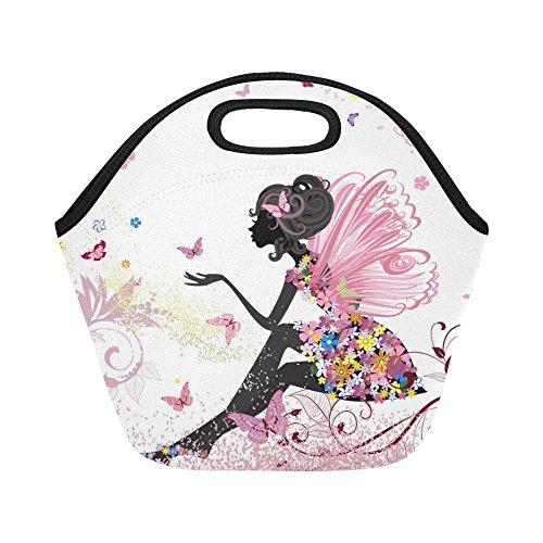 InterestPrint Insulated Lunch Tote Bag Fairy Butterflies Pink Reusable Neoprene Cooler, Flowers Floral Colorful Portable Lunchbox Handbag for Women Adult Kids Girls
