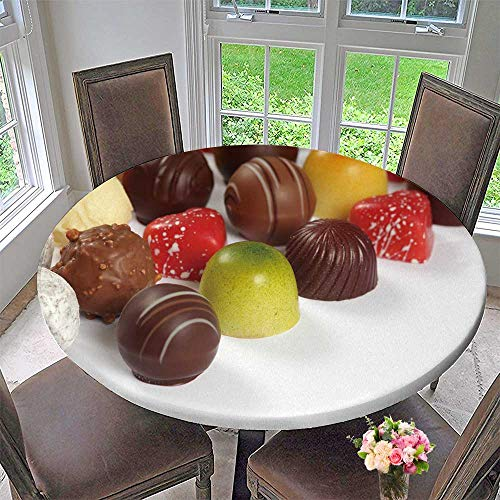 Praline Liqueur - Chateau Easy-Care Cloth Tablecloth Photo ssorted Truffles pralines and Liqueur Filled Chocolates for Home, Party, Wedding 59