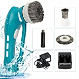 Household Handheld Battery Rechargeable Power Scrubber with Stainless Steal Brush for Barbecue Gas Grill, Kitchen, Bathroom Blue