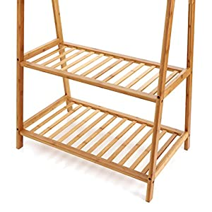 Finnhomy Bamboo Clothes Rack Portable Extra Large Garment Rack 2-Tire Storage Box Shelves For Entryway and Bed Room