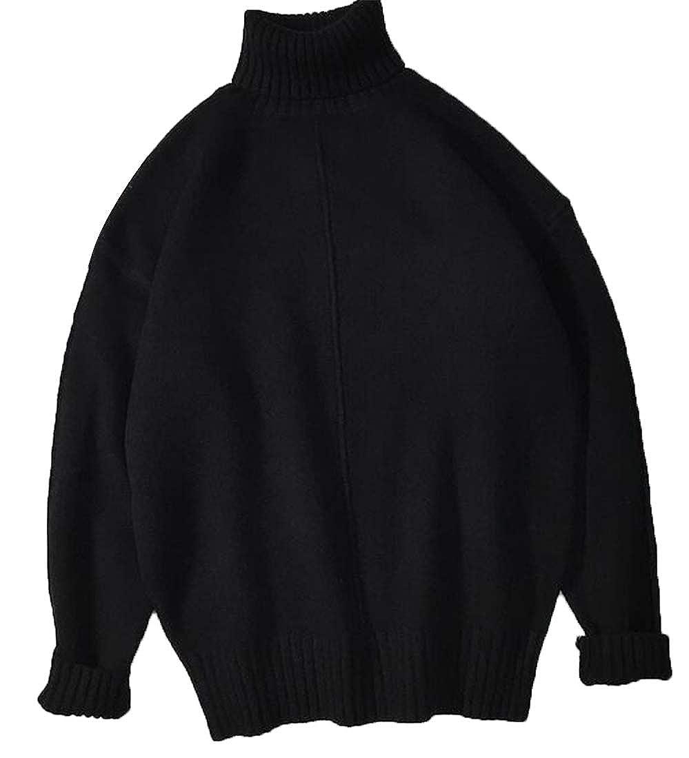 Fensajomon Mens Turtleneck Loose Fit Fall /& Winter Knit Warm Pullover Sweater Jumper Black XS