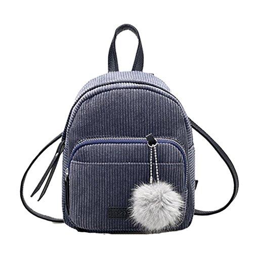 Creazrise Women Fashion School Bags Mini Thicken Corduroy Backpacks (Gray)