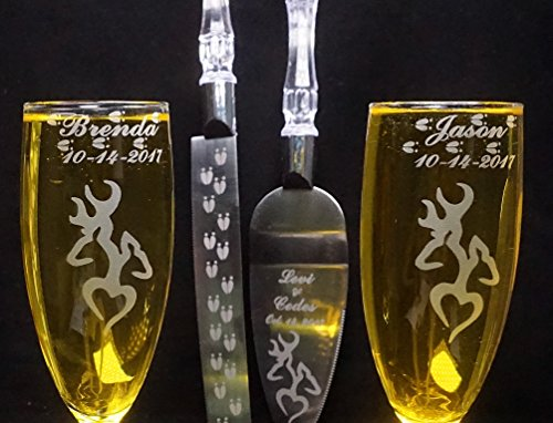 Deer Heart Engraved Wedding Cake Knife Set & Champagne glasses Names and Date FREE - Glasses Names