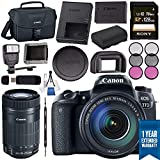 Canon EOS 77D DSLR Camera with 18-135mm USM Lens 1892C002 + Sony 128GB SDXC Card + LPE-17 Lithium Ion Battery + Flash + Canon Bag + Card Reader + Memory Card Wallet + Canon EF-S 55-250mm LensBundle