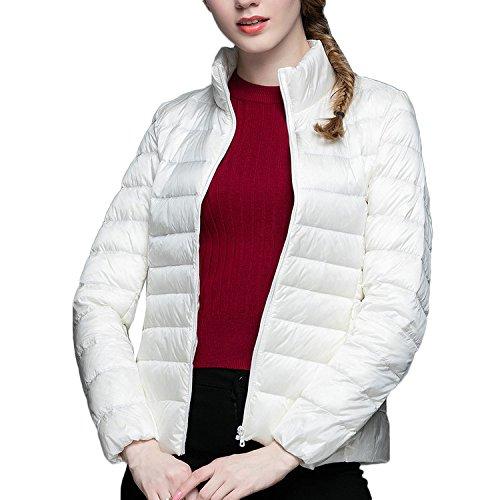 Donna White Slim Rivestimento Giacca Piumino Bmeigo Casual Collar Giacche Stand Inverno Thin OpZnxwqUd