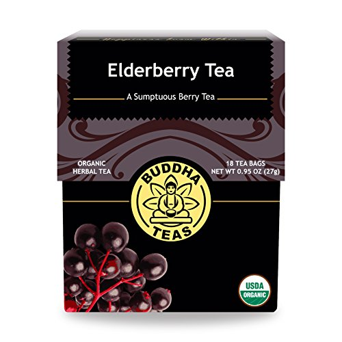 Elderberry Tea (Organic Elderberry Tea - Kosher, Caffeine-Free, GMO-Free - 18 Bleach-Free Tea Bags)