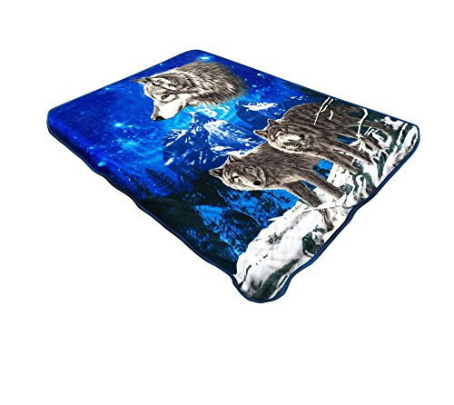 All American Collection New Super Soft Animal Printed Throw Blanket Anna (King Size, Wolf Pack)