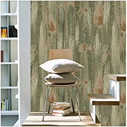 """HaokHome 4104 Faux Distressed Wood Plank Wallpaper Olive/Brown for Home Wall Kitchen Bathroom 20.8""""x 33ft"""