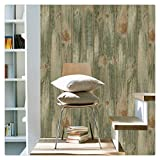 HaokHome 4104 Faux Distressed Wood Plank Wallpaper Olive/Brown for Home Wall Kitchen Bathroom 20.8''x 33ft