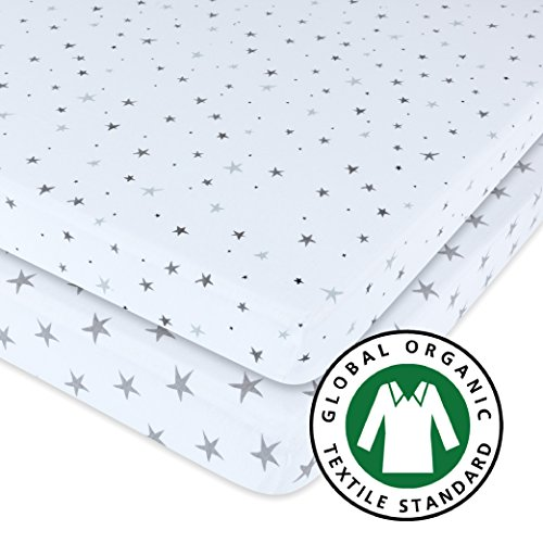 GOTS Certified Organic Pack N Play Portable Crib Sheet Set 100% Jersey Cotton 2 Pack - Grey Star Print