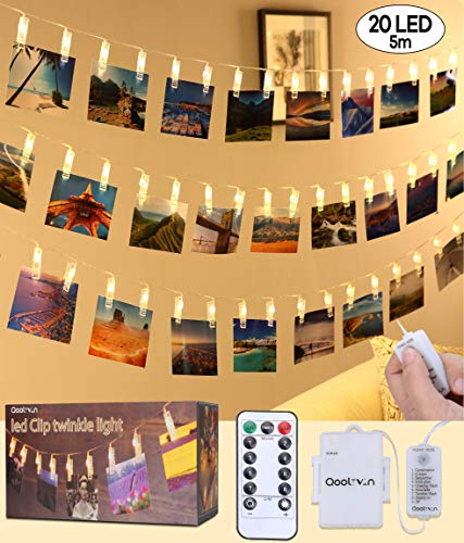 LED Photo Clip String Lights - Qoolivin 5M 20 Clips USB Plug Warm White LEDs Battery Operated Fairy String Lights Bedroom Home Decoration for Hanging Photos, Cards and Artwork