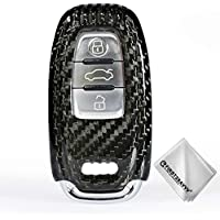 First2savvv Luxury Carbon Fiber Keyless Remote Key Fob Flip Key Protection Case For Audi A/S/Q SERIES A4L A5 A6L A7 A8 Q5 SQ5 S5 S6 S7 S8 RS5 RS7 + Cleaning cloth - CAR-YS-TXW-Audi-01