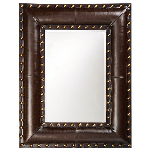 Howard Elliott 1339 Palermo Mirror, Dark Brown Faux Leather