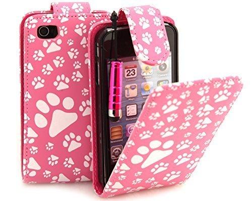® de Patte Rose Connect Zone Étui à rabat en cuir synthétique pour iPhone 5C Film protecteur d'écran et chiffon de nettoyage & Mini stylet pour écran tactile