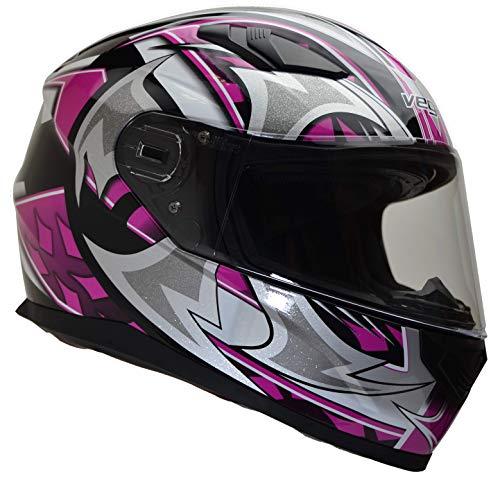 Vega Helmets 6115-362 Ultra Full Face Helmet for Men & Women (Pink Shuriken Graphic, Small) 1 pack (Vega Helmets Motorcycle)