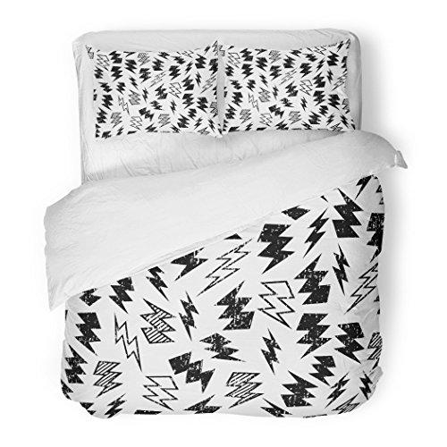 - SanChic Duvet Cover Set Pattern Black and White Distressed Lightning Bolt Kids Decorative Bedding Set with 2 Pillow Cases Full/Queen Size