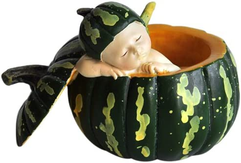 Top Collection Miniature Fairy Garden and Terrarium Sleeping Fairy Baby in Green Gourd Statue