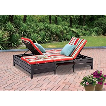 double chaise lounger this red stripe outdoor chaise lounge is comfortable sun patio furniture guaranteed - Garden Furniture Loungers