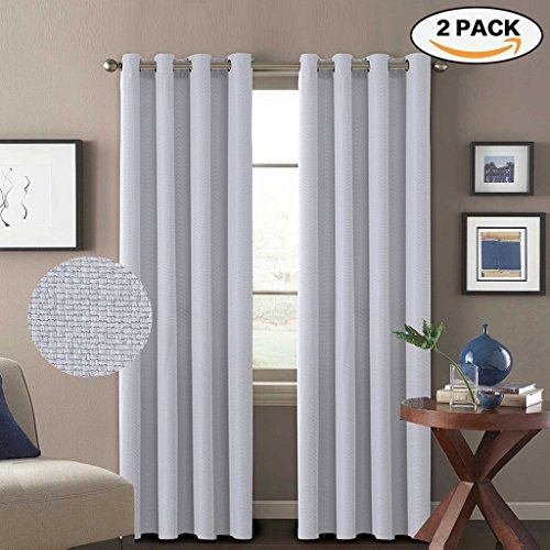 H Versailtex Classical Grommet Room Darkening Thermal Insulated Thick Quality Textured Tiny Plaid Linen Like Innovated Extra Long Curtains and Drapes 52 by 108 Inch Silver White 2 Panels (Thermal Quality)