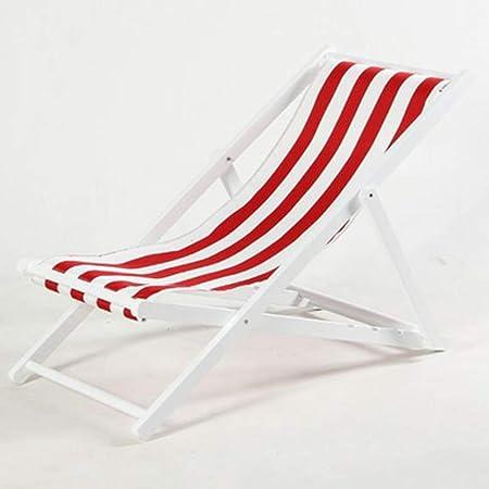 Dsrgwe Tumbonas Jardin Plegable, Sillas reclinables de Madera al Aire Libre Plegable Tumbona sillas de jardín Hamacas Balcón Porche Sillas de Playa (Color : Red and White, Size : White): Amazon.es: Hogar