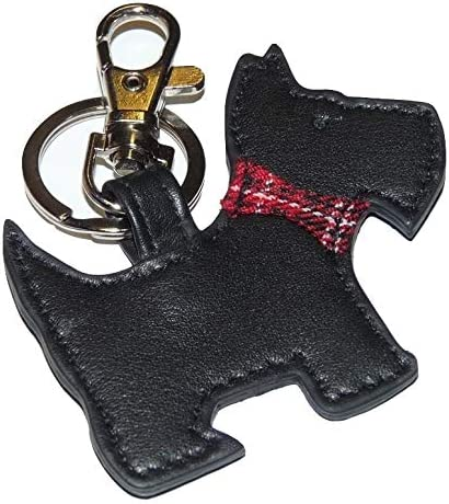 Scottie Dog Leather Keyring with Gift dustbag by Mala Leather Black