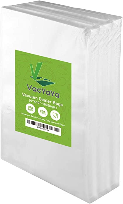 Premium!! VacYaYa 100 Pint 6 x 10 Inch Food Saver Freezer Vacuum Sealer Storage Bags Size for Food Saver,Vac Seal a Meal Bags with BPA Free and Heavy Duty Sous Vide Vaccume Safe PreCut Bag