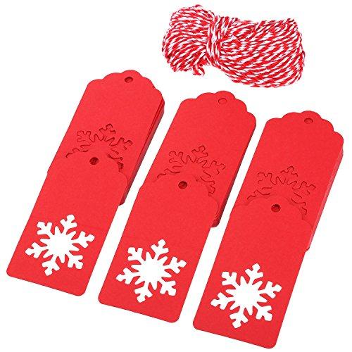 100 Pièces Étiquettes en Papier pour Cadeau de Noël Étiquettes de Creux de Forme de Flocon de Neige avec 30 Mètres Ficelle pour Hiver Thème Parti Décorations