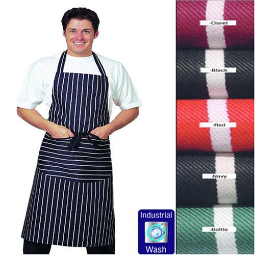 Best Quality, Large Striped Bib Apron with pocket, 100% Cotton *LONG TIES* Thick Material, Various Colours available (Navy Blue)By Dennys Denny's