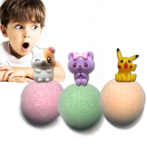 Bath Bombs for Kids with Toys Inside Surprise Gift,Boy&Girl Best Lush Fizzies, 3 Pcs. Set Random Toy in Fun& Fruit Scents