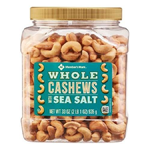 Member's Mark Roasted Whole Cashews with Sea Salt ( 33 oz.) (1 Jar) by Member's Mark