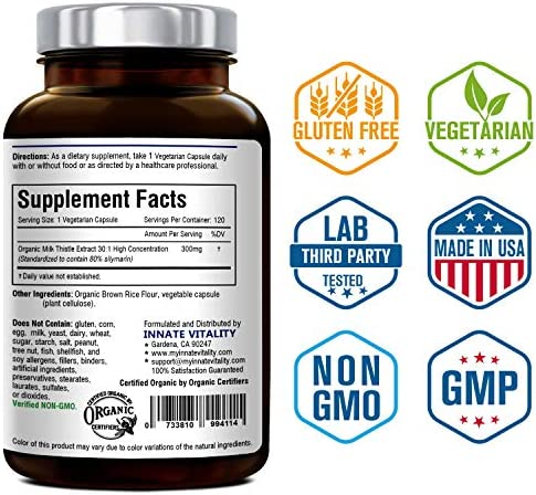 Organic Milk Thistle Extract, Standardized 80 Silymarin Flavonoids, 30 1 Highest Concentration, 9000mg Equivalent, 300mg per Caps, 120 Veggie Caps, Non-GMO,Gluten Dairy Soy Free, Support Liver Heal