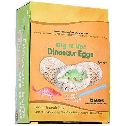 ADS Ultimate 12 Dinosaur Eggs Science Kit–Dig Up Dino Fossils and Assemble Skeleton Set! - Each Includes 1 Piece of Chisels by ADS (Image #2)