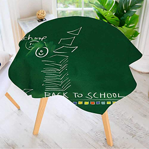 Leighhome 100% Polyester Printed Table Cloth- Green Chalkboard Background Back to School Doodles Ideal for Home, Restaurants, Cafés 43.5