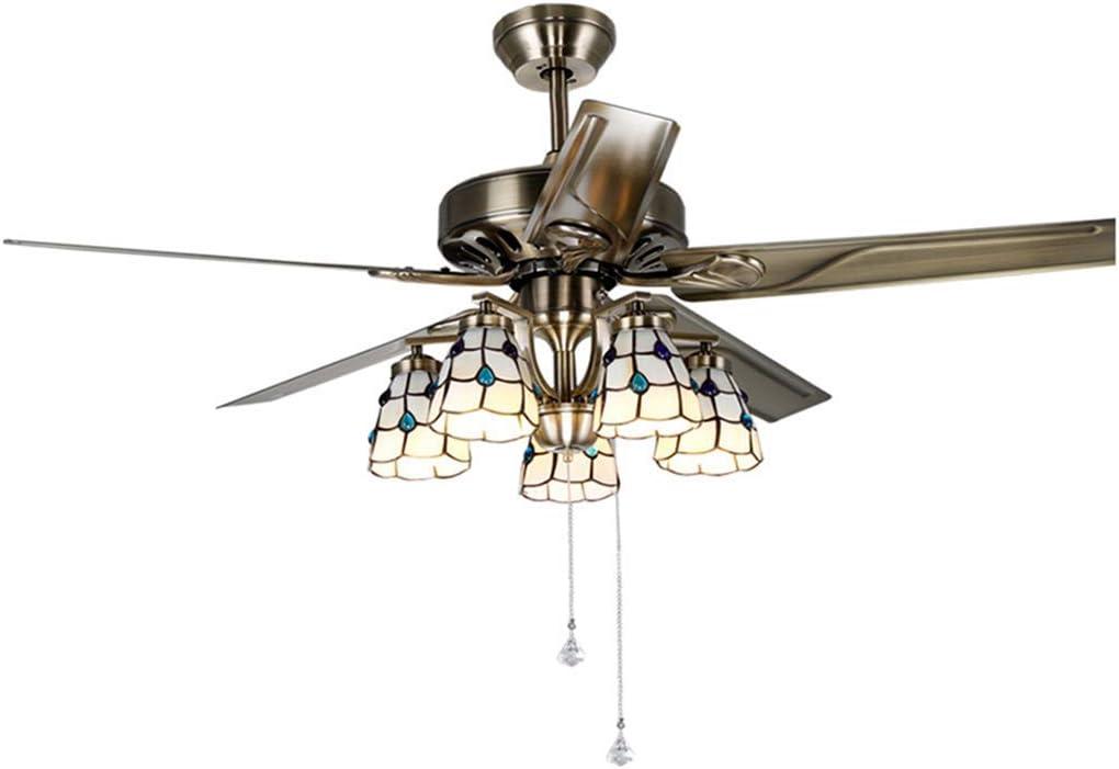 ventiladores de techo con iluminación LED chapa de hierro con ventilador luz retro principal de la sala de bronce dormitorios, 108 * 45cm