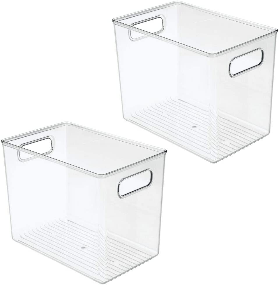 zapatos Tambi/én ideal como cesta organizadora de art/ículos de oficina y manualidades mDesign Juego de 2 cajas de almacenaje con asas Organizador de pl/ástico para guardar ropa transparente etc