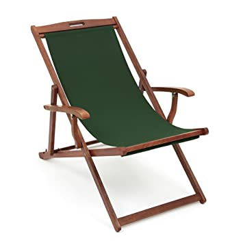 Nice Trueshopping Hardwood Frame Folding Rimini Classic Deck Chair With Armrests    Dark Green Fabric Slip