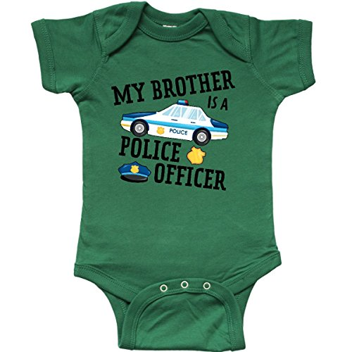 - inktastic - My Brother is a Police Infant Creeper 6 Months Kelly Green 2f987